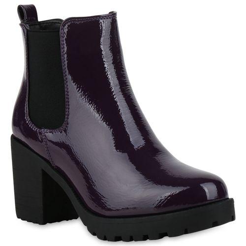 Damen Stiefeletten Chelsea Boots - Lila Lack