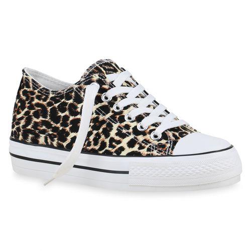 Damen Plateau Sneaker - Leopard