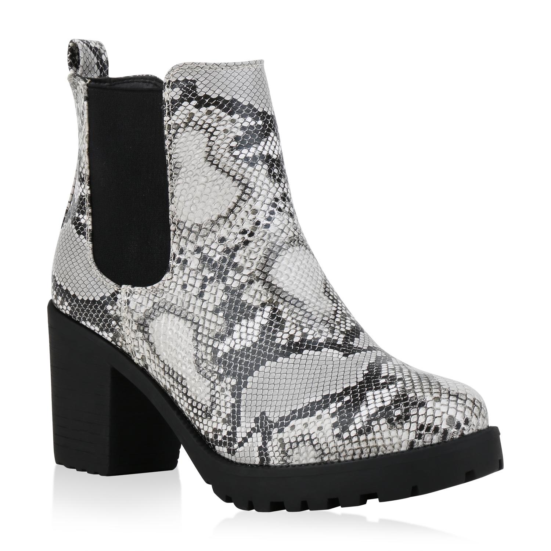Damen Stiefeletten Chelsea Boots - Weiß Schwarz Snake