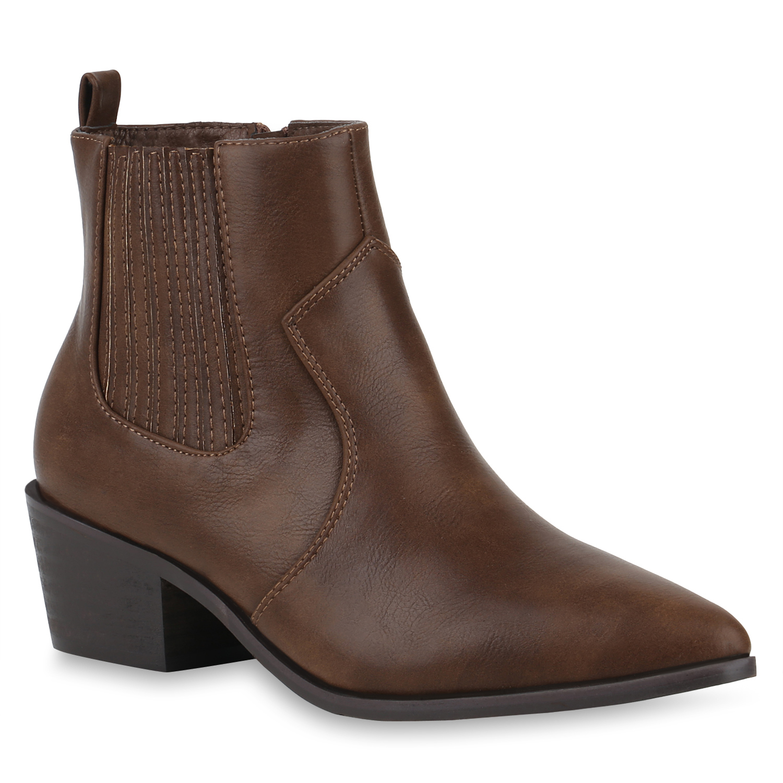 Stiefeletten Boots Damen Damen Braun Stiefeletten Braun Damen Cowboy Stiefeletten Cowboy Boots HDEIW29