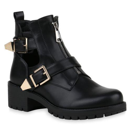 Damen Stiefeletten Ankle Boots - Schwarz Gold