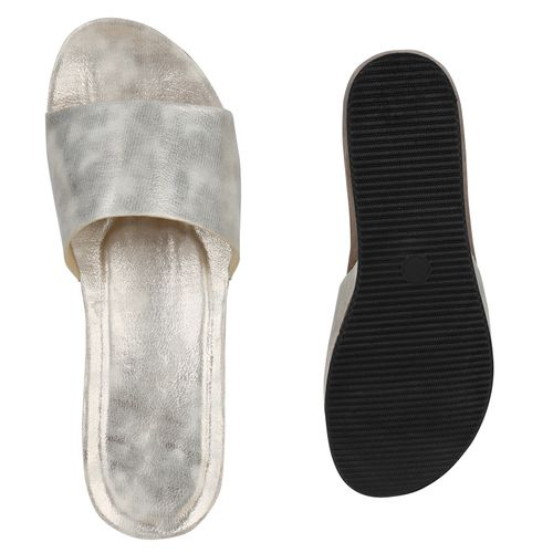Damen Sandaletten Pantoletten - Gold