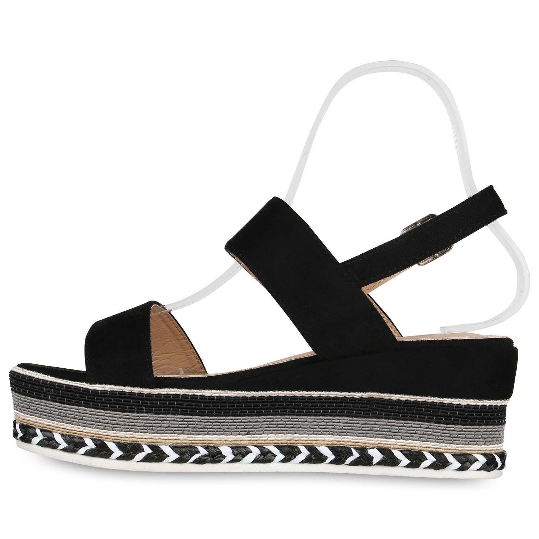 Damen Plateau Sandaletten Keilabsatz Sommer Schuhe Ethno Wedges 830004 Trendy