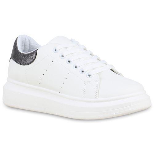 Damen Sneaker Weiß Plateau Dunkelgrau Metallic SvrST0