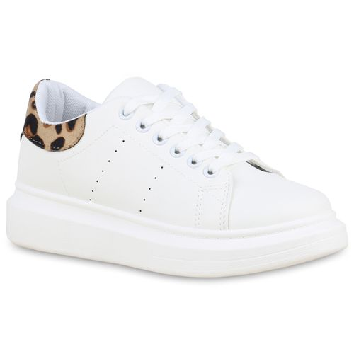 Sneaker Leo Weiß Damen Plateau Plateau Damen Sneaker Weiß Leo WaxvnFY