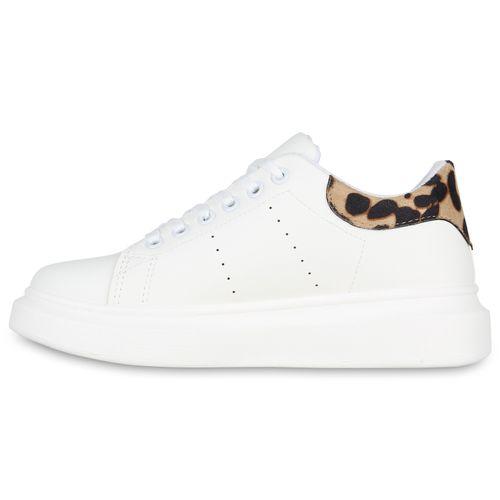 Damen Weiß Damen Plateau Plateau Leo Sneaker 5zgOOvq