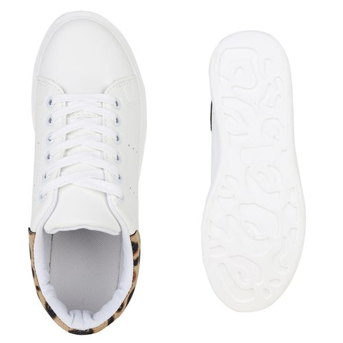 Damen Leo Weiß Plateau Plateau Damen Sneaker Rwn1RqC