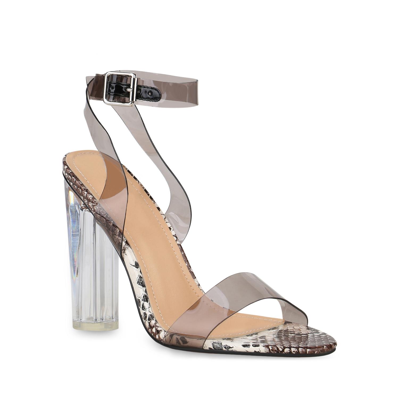 Highheels für Frauen - Damen Sandaletten High Heels Braun Weiß Snake  - Onlineshop Stiefelparadies
