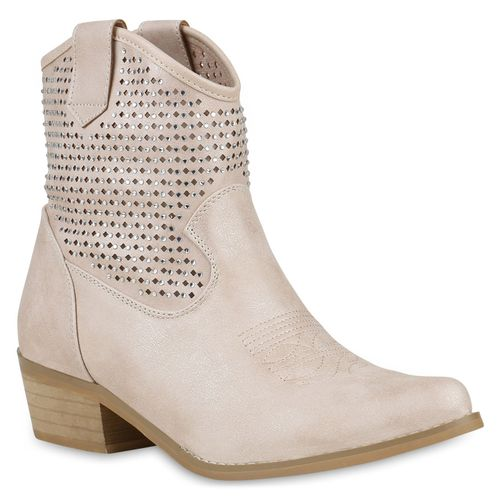 Damen Stiefeletten Cowboy Boots - Nude
