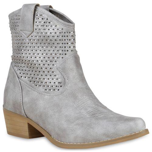 Damen Stiefeletten Cowboy Boots - Hellgrau