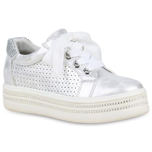 brand new 0fc6e df353 Damen Plateau Sneaker - Silber