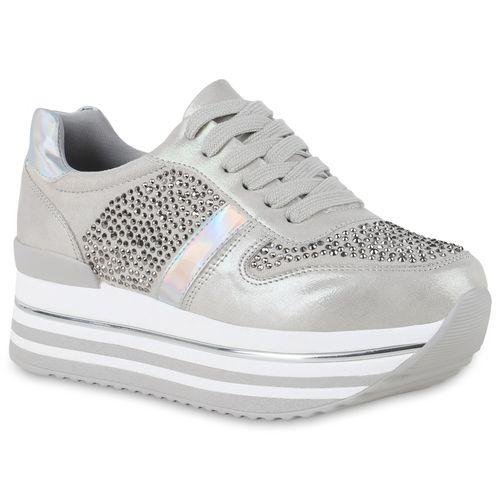 Sneaker Plateau Damen Plateau Damen Hellgrau WvSYtSqw