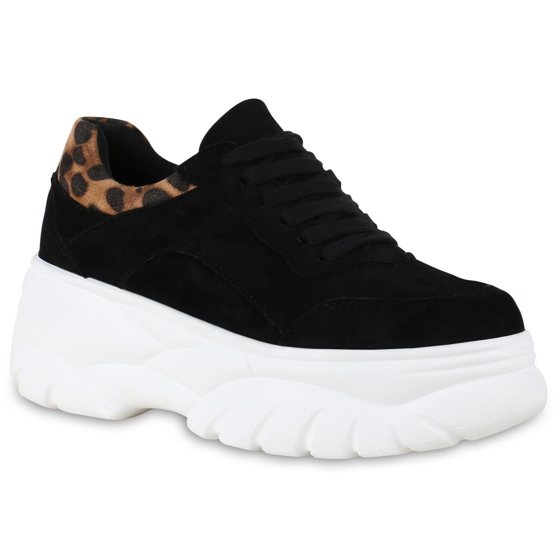 71dedd8312ebbe Damen Chunky Sneaker Plateau Freizeitschuhe Leo Print Turnschuhe 830036  Schuhe
