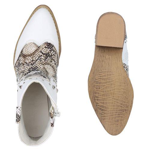 Damen Stiefeletten Cowboy Boots - Weiß Snake