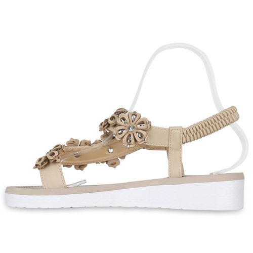 Damen Sandaletten Zehentrenner - Beige