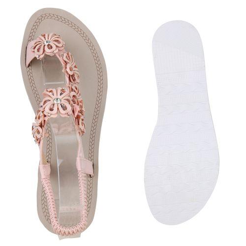 Damen Sandaletten Zehentrenner - Rosa