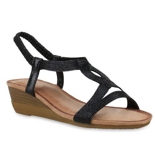 Keilsandaletten Schwarz Schwarz Damen Sandaletten Keilsandaletten Sandaletten Damen Damen Sandaletten Z1nqUa