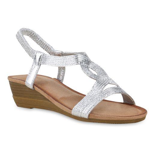 Damen Damen Sandaletten Silber Sandaletten Keilsandaletten Keilsandaletten BrBTqxU