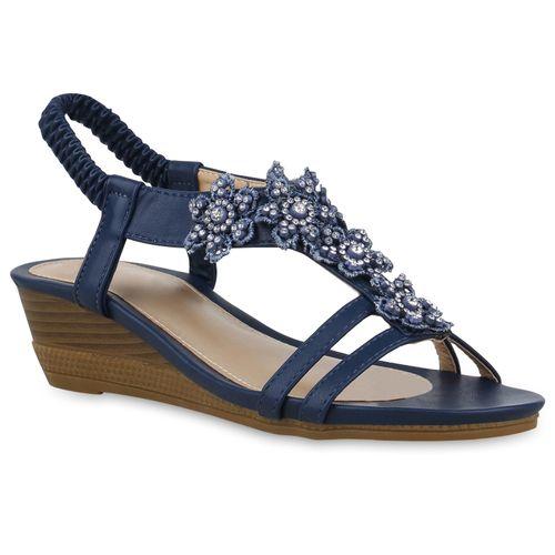 Damen Sandaletten Keilsandaletten - Dunkelblau