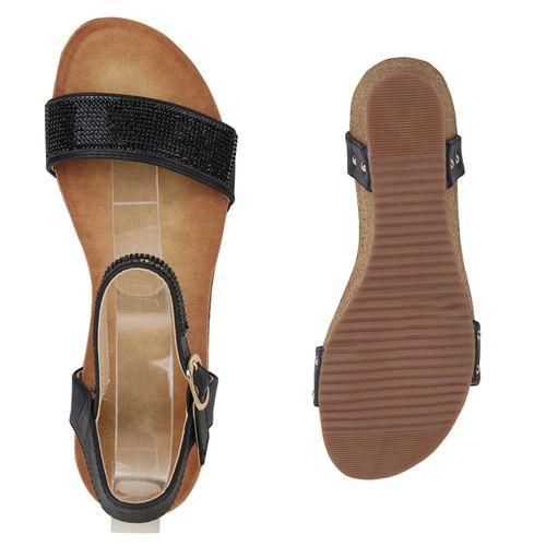 Sandaletten Keilsandaletten Schwarz Damen Sandaletten Damen 7qTpRcE