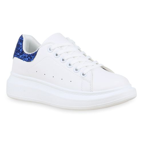 Damen Sneaker In Weiss Blau 830092 1184 Stiefelparadies De