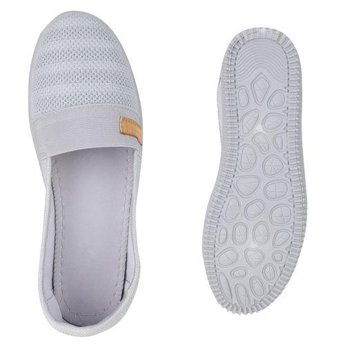 Damen Slippers Slip Ons - Hellgrau