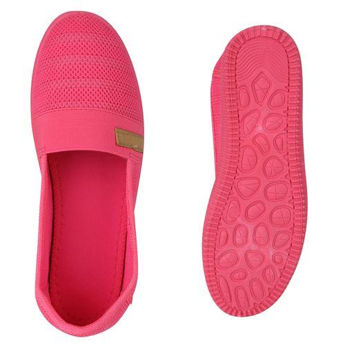 Damen Slippers Slip Ons - Neonpink