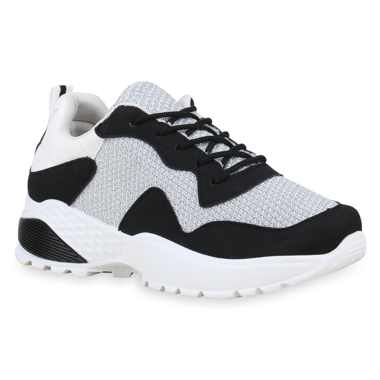 half off 1f71a 4d83b Damen Plateau Sneaker - Schwarz Weiß Silber