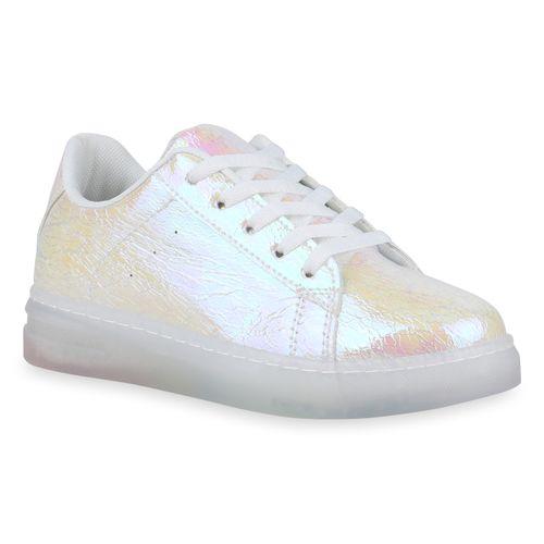 Damen Plateau Sneaker Weiß Metallic