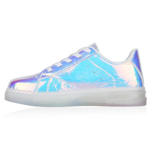 Damen Plateau Sneaker - Silber Metallic