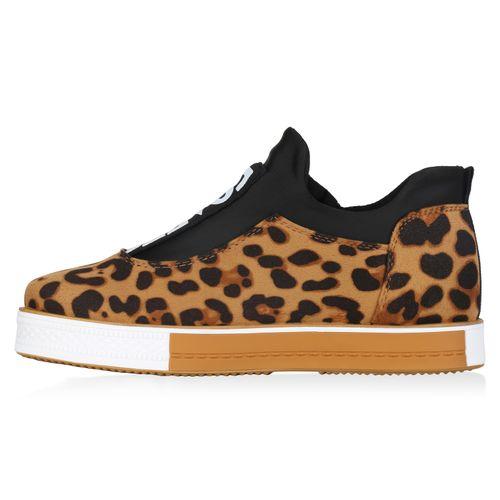 Damen Sneaker Plateau Leo Plateau Damen Hellbraun 4xwdvCC1qc