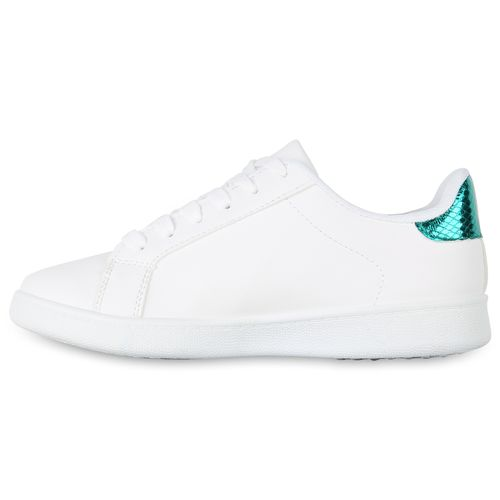 Damen Sneaker low - Weiß Dunkelgrau Metallic