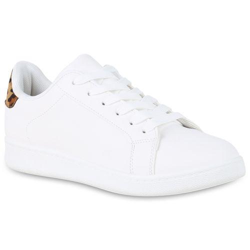 Damen Sneaker low - Weiß Hellbraun Leo