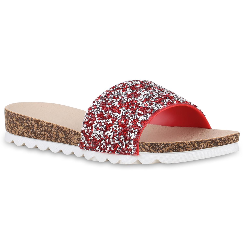 Damen Sandalen Pantoletten - Rot