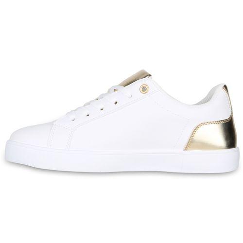 Weiß Damen Sneaker Sneaker Gold Low Damen xIBppqwdS