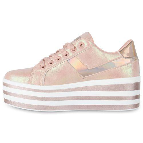 Damen Plateau Sneaker - Rosa Metallic