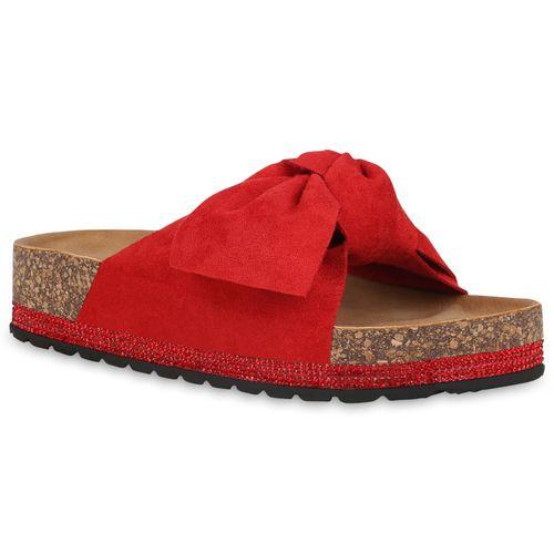 Damen Sandaletten Pantoletten - Rot