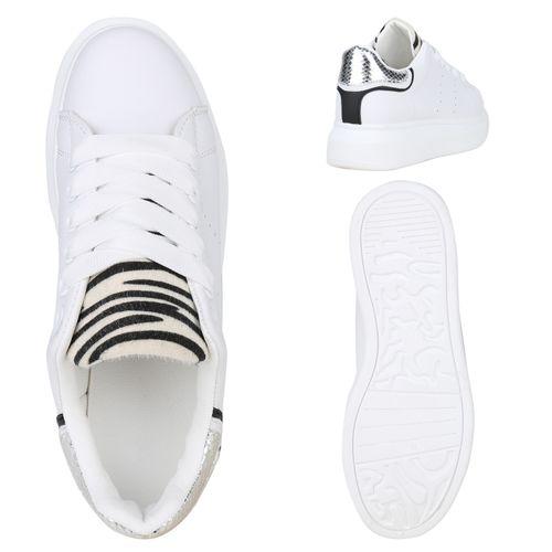 Zebra Sneaker Silber Weiß Plateau Damen wv8BXnfn