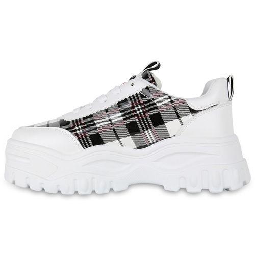 Damen Sneaker Weiß Plateau Muster Damen Plateau Sneaker Fqwxfgg