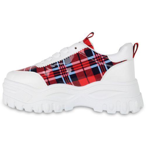 Rot Sneaker Damen Muster Damen Plateau Plateau IqzPPv