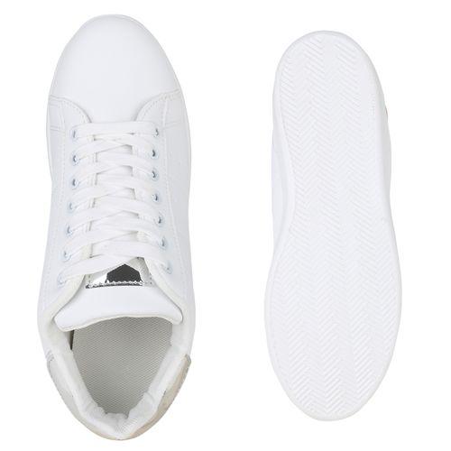 Weiß Damen Low Sneaker Sneaker Silber Damen p7BqWwZ