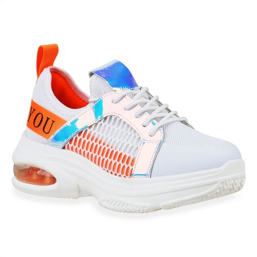 Damen Orange Metallic Plateau Weiß Neon Sneaker UxPrIqU