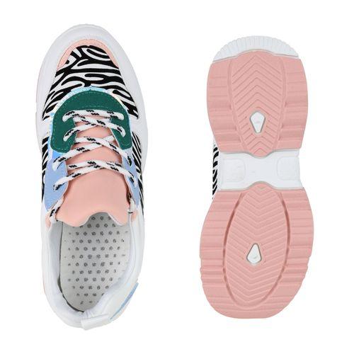Sneaker Damen Rosa Weiß Plateau Zebra a5q1qPfx