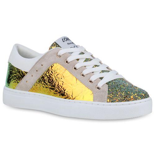 Blau Sneaker Damen Metallic Low Gelb POtCwq