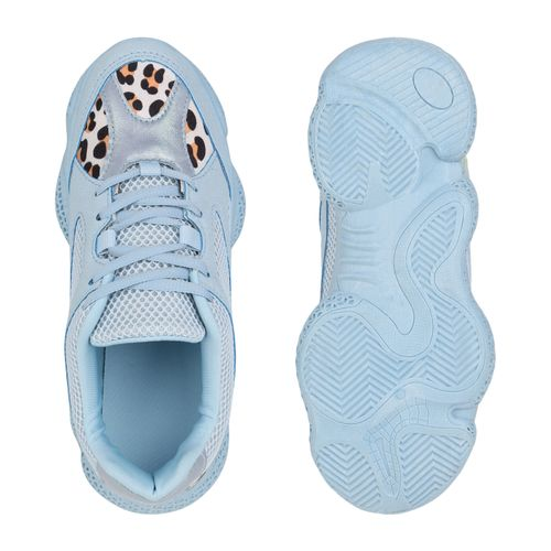 Hellblau Damen Plateau Hellgrau Leo Sneaker OEOHqFr