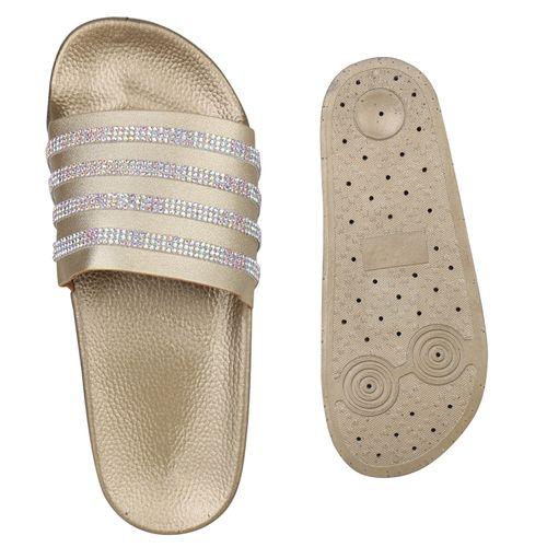 Pantoletten Damen Damen Sandalen Pantoletten Sandalen Gold pwH7THq