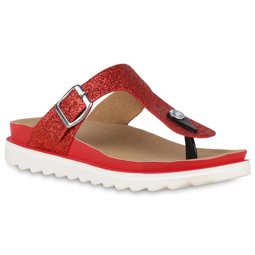 sale retailer 61b95 cc0af Damen Sandaletten Zehentrenner - Rot