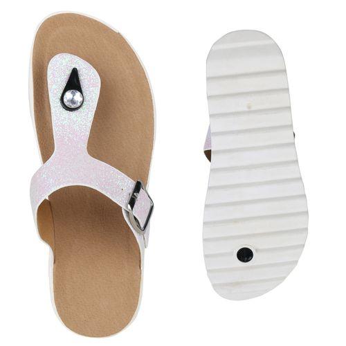 Damen Sandaletten Zehentrenner - Weiß