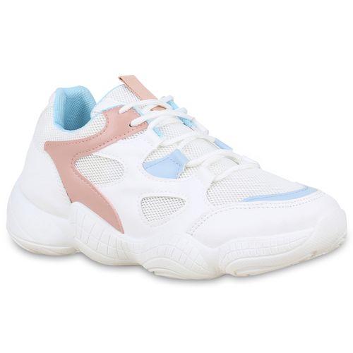Rosa Sneaker Plateau Damen Weiß Hellblau IxRpp6w