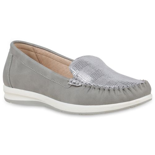 Slippers Damen Mokassins Damen Grau Slippers 6nPExFqw8